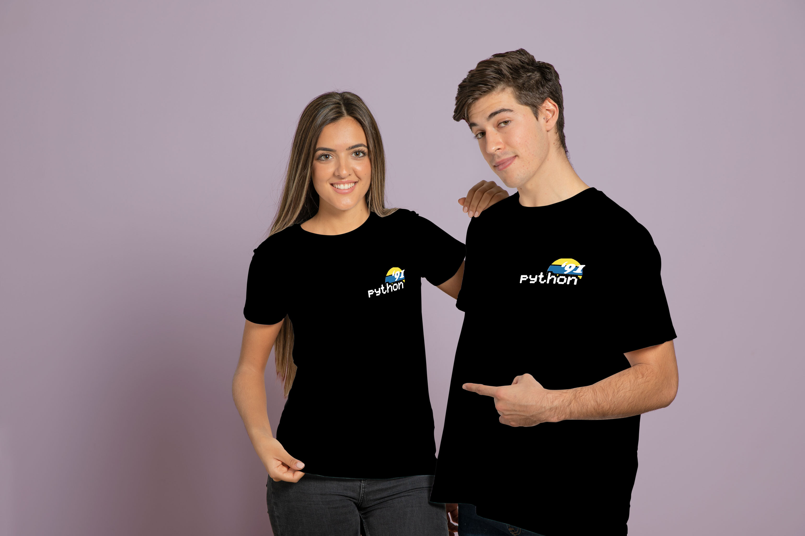 two people wearing a mock up of the sun Python shirt design