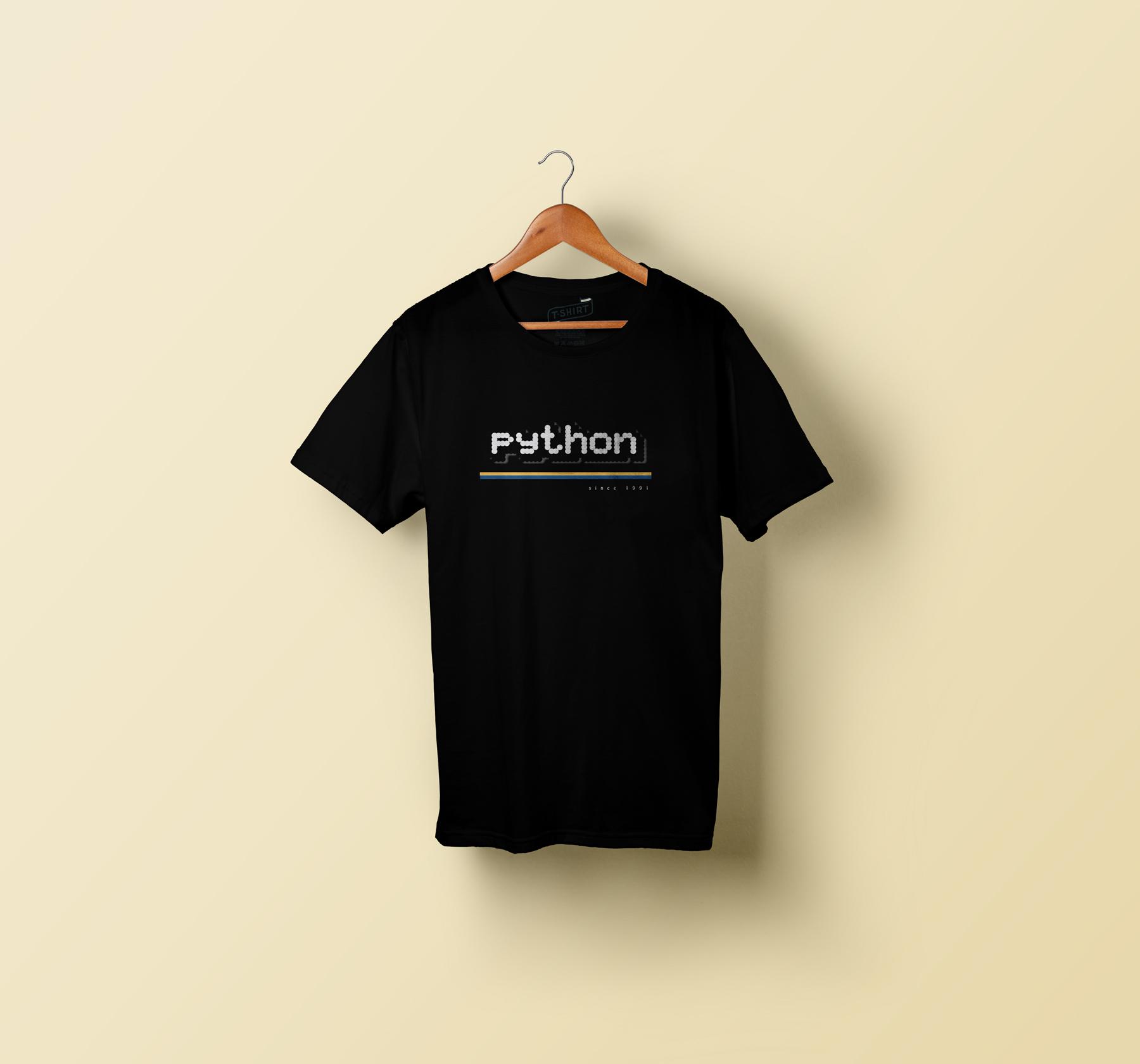 mock up of the pixel Python shirt design